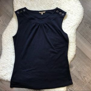 RW& Co Navy Sleeveless Top with Buttons Medium